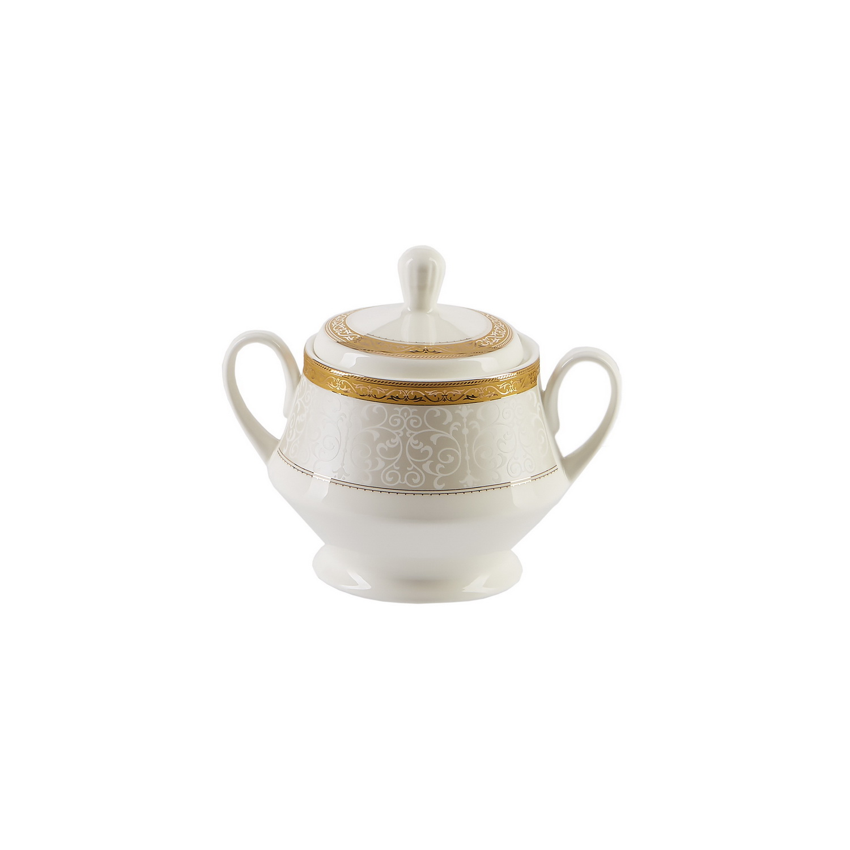 Сервиз чайный 15 предметов ФаворитС фарфоровым сервизом Фаворит вы сможете устроить чаепитие на 6 персон. Не смотря на то, что чашки достаточно объемны (220 мл), благодаря тонкой талии и миниатюрной подставке, они не выглядят громоздкими и тяжелыми. Основание каждой из них идеально вписывается в углубление на блюдце, чем обеспечивает надежную устойчивость. Ручки чашек большие и удобные. Помимо чайник в комплект входит еще сахарница и молочник. На всех предметах сервиза выполнена роспись в растительных мотивах. Этот орнамент в стиле барокко создает ощущение, что посуда попала к Вам прямиком со двора какого-нибудь европейского монарха, а золотая кайма на каждом приборе придаст чаепитию дух поистине королевской роскоши.<br>