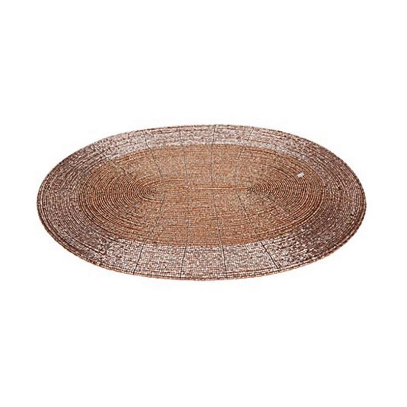 Салфетка сервировочная бисерная 39 см золотая