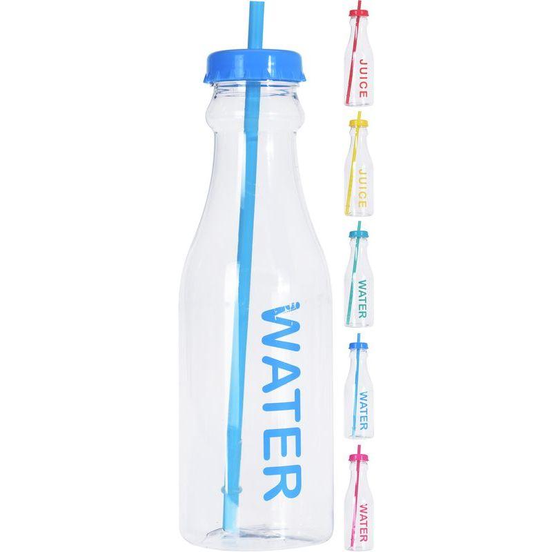 Бутылка д/воды с соломкой 650 мл в ассортименте<br>