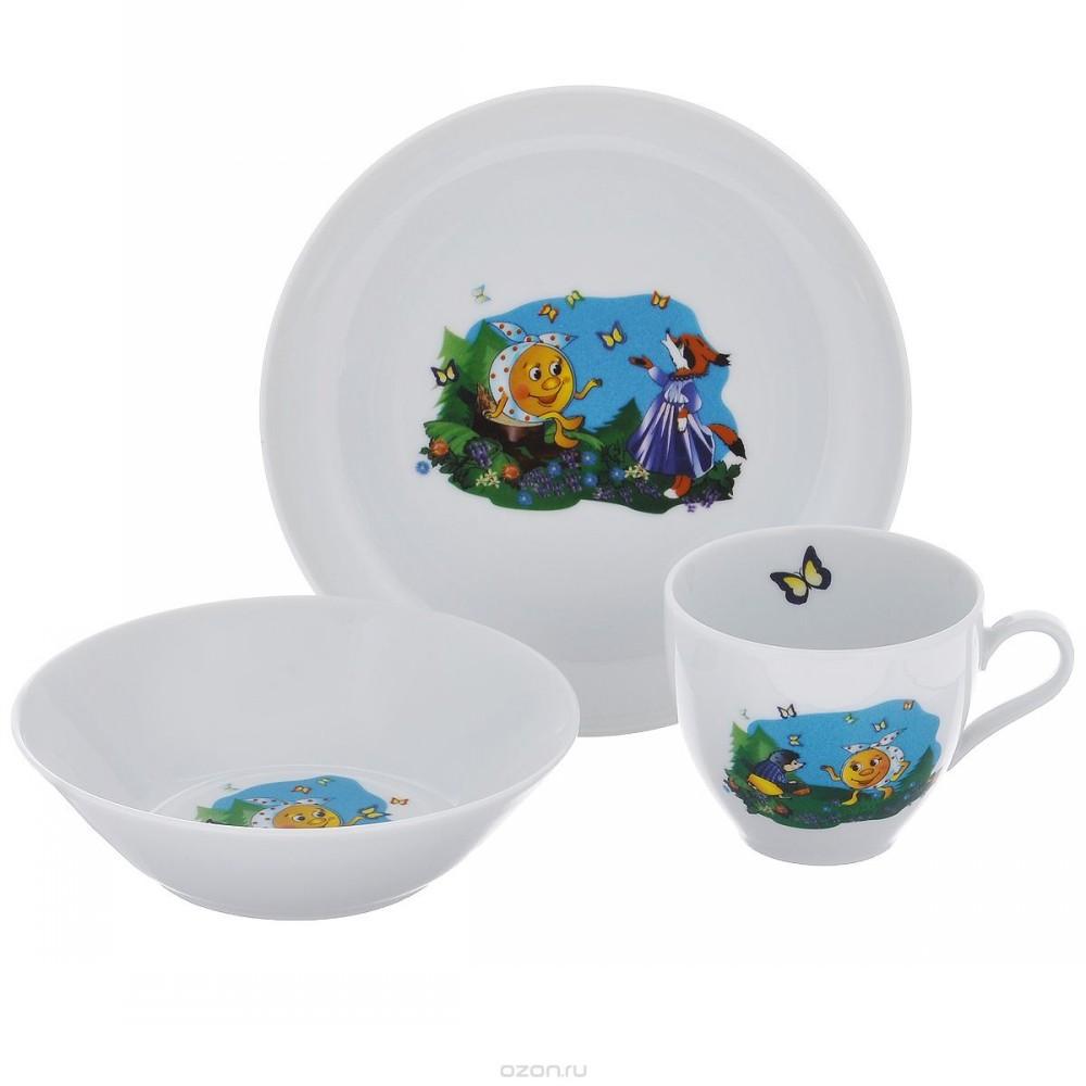 Набор для завтрака РепкаФарфоровый набор из 3-х предметов отлично подойдет для веселого завтрака ваших деток. Благодаря качеству и экологичности материала, веселому рисунку, ваш ребенок будет поглащать с удовольствием все, что вы ему приготовите.<br>