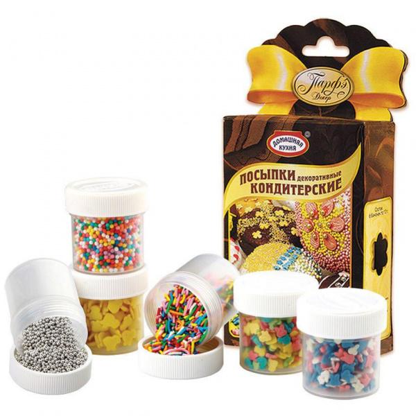 Посыпкикондитерские декоративныеСочетание вкуса и цвета в изделии – главные составляющие для создания идеального продукта. Разноцветные посыпки помогают дополнить цветовую гамму и наполнить изделие необходимым настроением. ПОСЫПКИ – съедобные разноцветные, декоративные кондитерские украшения различной формы (фигурные, шарики, вермишель) на основе сахара. Посыпки предназначены для красочного оформления различных кондитерских изделий: тортов, пирожных, куличей, булочек, печенья, десертов, мороженого и др.<br>