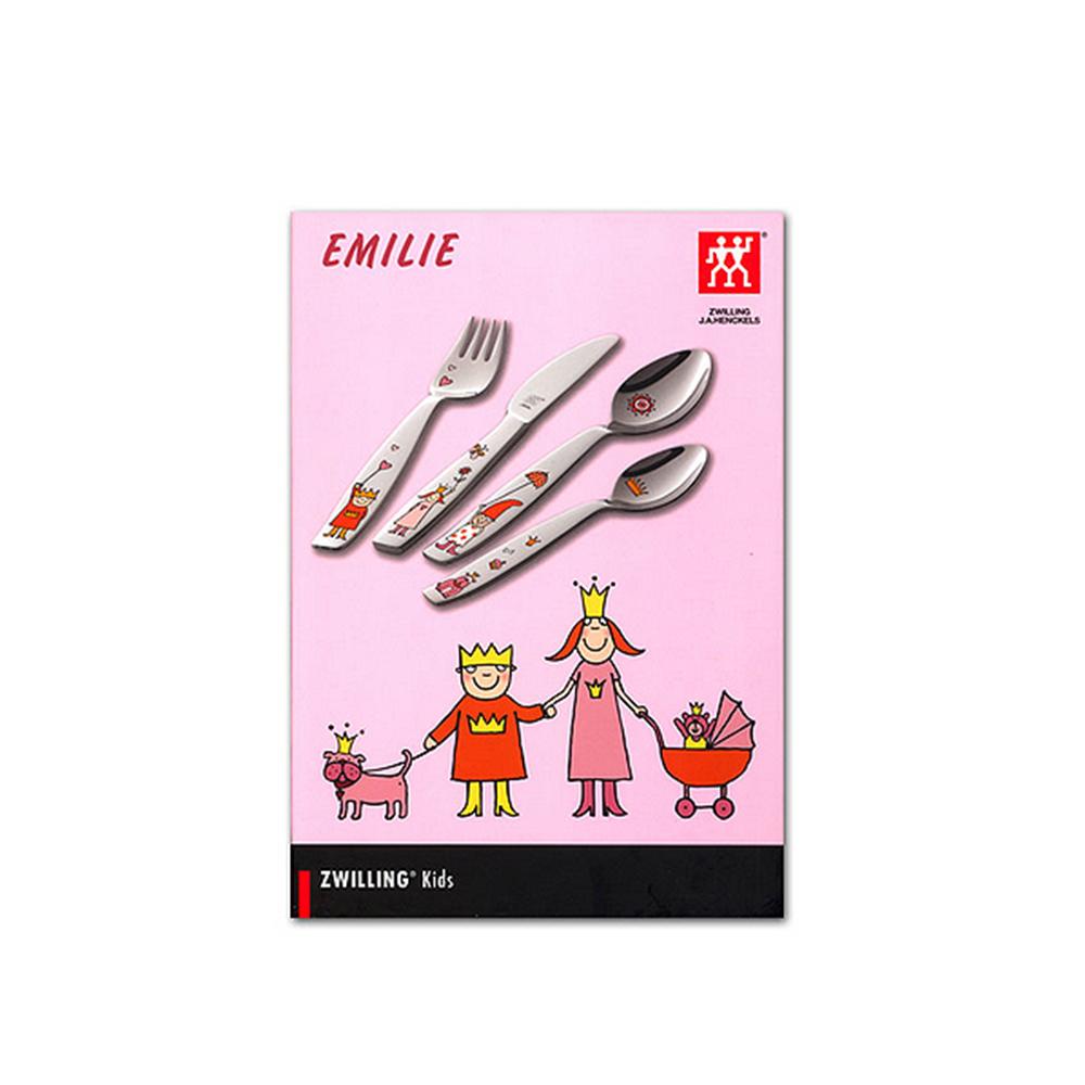 Набор детских столовых приборов Эмили 4 прНабор детских столовых приборов Эмили 4 предмета: столовая ложка, вилка, столовый нож и десертная ложка - сделаны из нержавеющей стали. Приборы не деформируются и не ржавеют, места соединения рукоятки водонепрницаемы.<br>