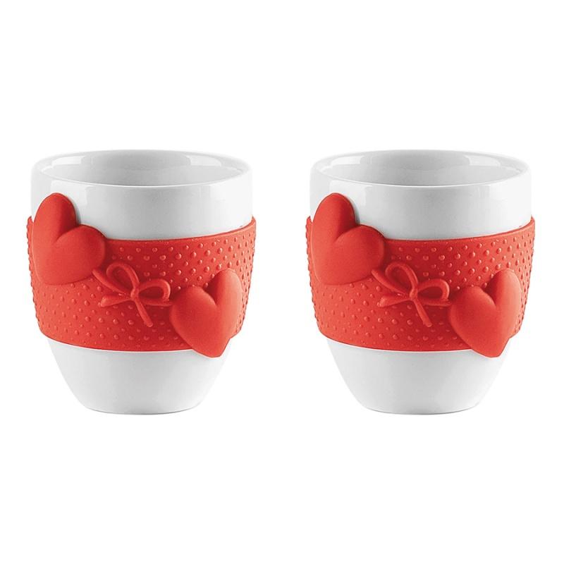Набор чашек для кофе 2 шт. 80 мл Guzzini Love красный фото