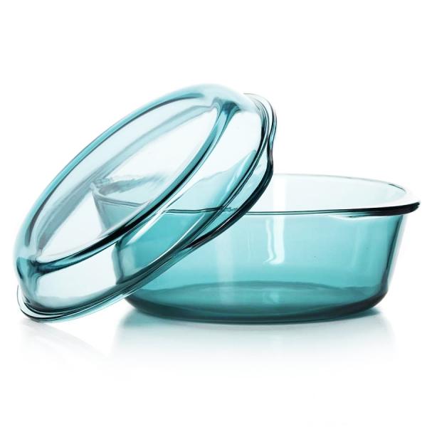 Форма д/запекания с крышкой 2л круглая цв стеклоПосуда для СВЧ круглая 2 л цветное стекло<br>