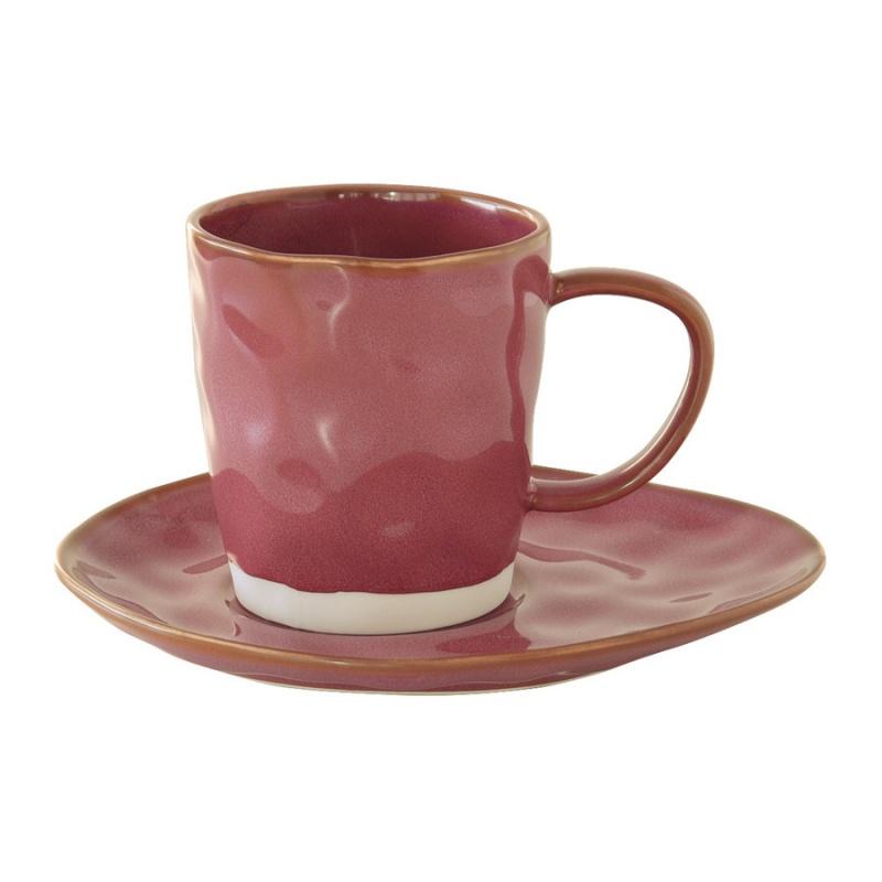 Чашка с блюдцем 250 мл Easy Life Interiors тёмно-малиновый