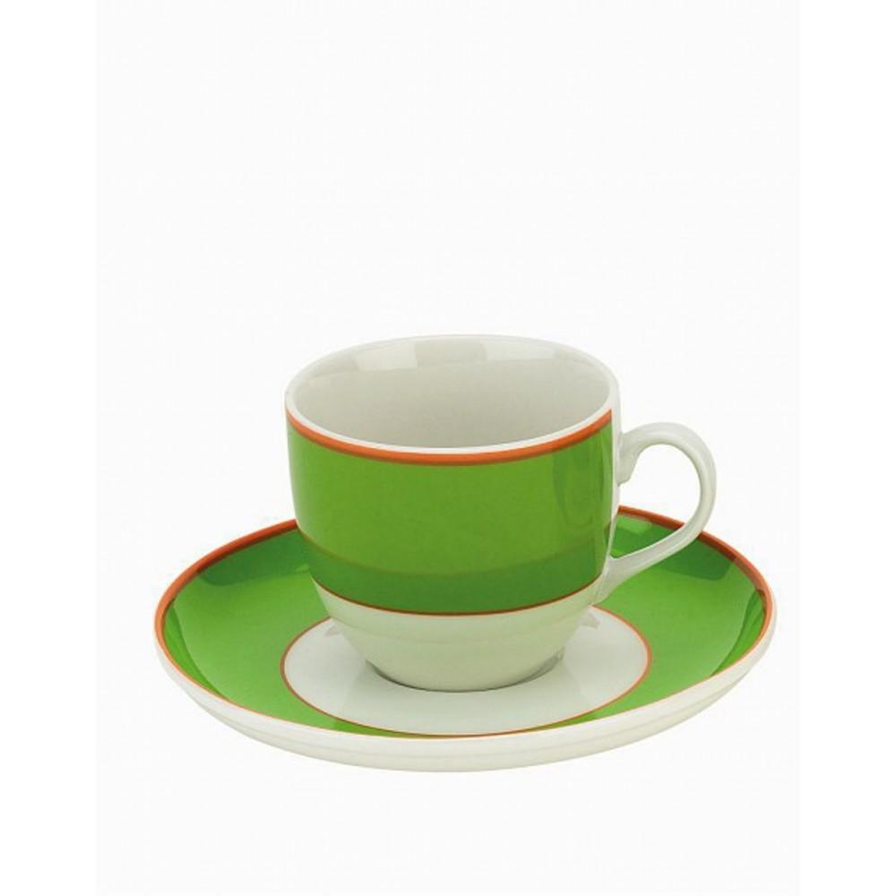 Чашка чайная с блюдцем 210 мл PERLA GREENЧашка с блюдцем сделана из высококачественного фарфора. Благодаря ее оригинальному дизайну, она станет отличным подарком на любой праздник вашим друзья или близким. Коллекционеры посуды и настоящие ценители по достоинству оценят этот набор.<br>
