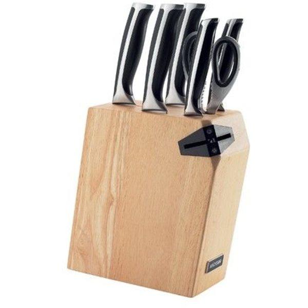 Набор из 5 кухонных ножей, ножниц и блока для ножей с ножеточкойNadoba производит высококачественные кухонные инструменты и аксессуары, что подтверждается длительным сроком гарантии. Хорошие ножи необходимы в каждом доме. Вы останетесь довольны их качеством и эргономичностью.<br>