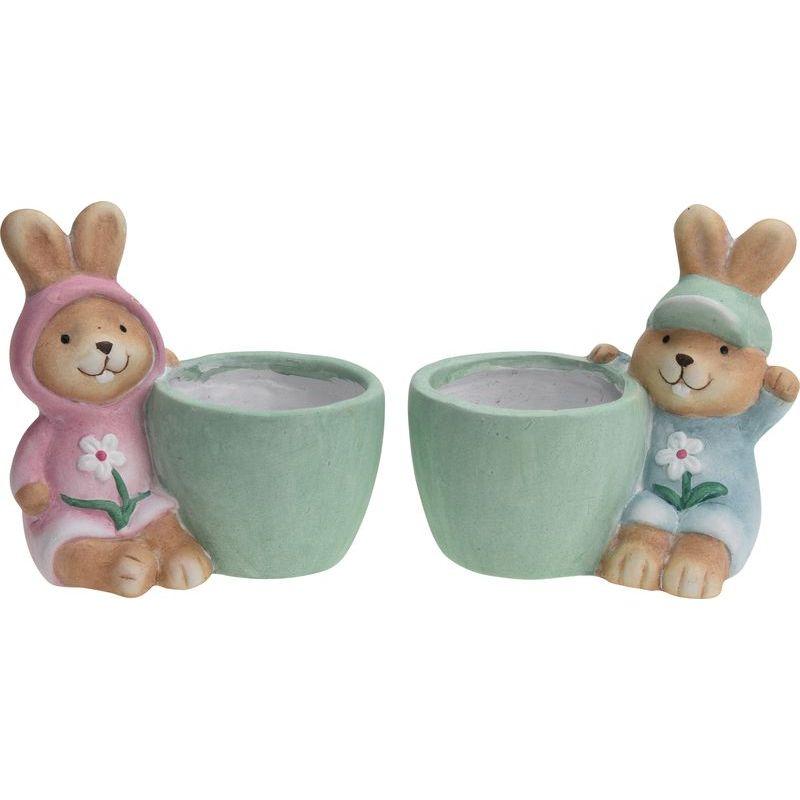Купить Горшок с декорацией Кролик в ассортименте, Excellent Houseware