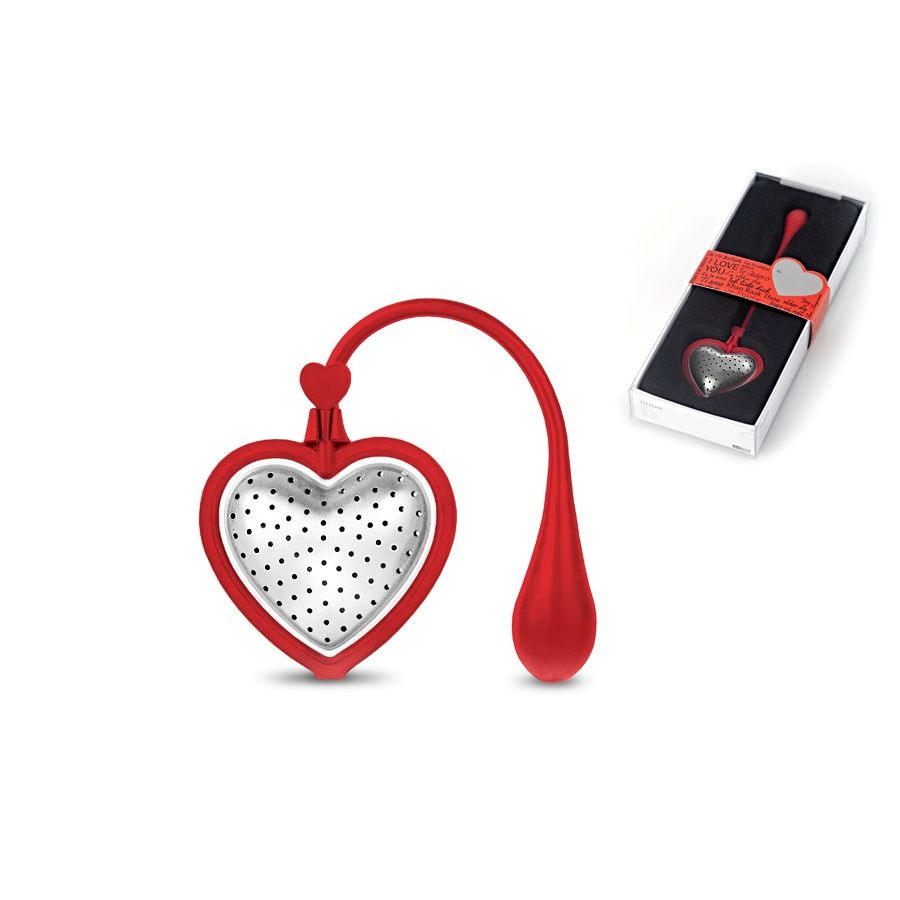 Ситечко для заваривания чая TEA HEART RED, красныйСитечко для заваривания чая в форме сердца расскажет о вашем пристрастии к душистому чаю и любви к элегантным, изысканным вещам. Изготовлено из нержавеющей перфорированной стали с ярко-красной силиконовой окантовкой и держателем – заваривание чая превратится в удобный и красивый процесс: просто засыпьте внутрь ваш любимый сорт и заварите чай прямо в кружке. Ситечко произведено полностью из экологически чистых материалов и упаковано в миниатюрную коробочку, оно станет милым подарком для себя или очаровательным дружеским комплиментом.<br>
