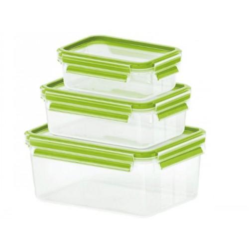 Набор контейнеров CLIP &amp; CLOSE (0 55л/1л/2 3л)Набор пищевых контейнеров разного объема отлично подойдет для того, чтобы взять вашу любимую еду на природу или обед на работу. Контейнеры подходят для хранения продуктов в холодильнике, а также для их заморозки. Герметичная крышка на заклепках надежно защитит ваши продукты. Здоровое питание это просто!<br>