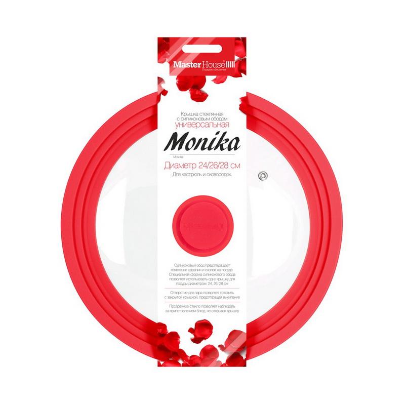 """Крышка стеклянная с силиконовым ободом 24/26/28 см """"Моника"""" Master House фото"""