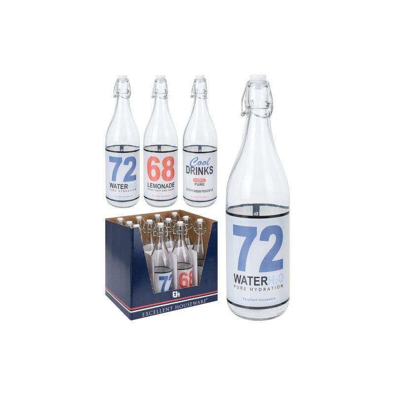Бутылка с крышкой 1лВысокая бутылка изготовлена из прозрачного стекла и закрывается прорезиненной крышкой на металлической клипсе. Такой способ позволяет быстро открыть и плотно закрыть бутылку, исключив проливание жидкости. На поверхность стекла краской нанесены надписи, стилизованные под этикетки минеральной воды, лимонада, прохладительных напитков. Такой дизайн делает бутылку не только функциональной емкостью, но и примечательной деталью интерьера, которой можно украсить полку, выделить необычным акцентом напитки в сервировке сладкого стола.<br>