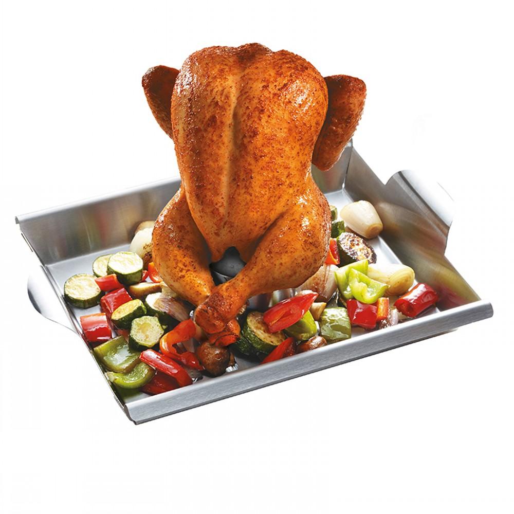 Ростер для курицы и шашлыковКомпактный и удобный ростер, подойдет для приготовления ароматного шашлыка, мяса, морепродуктов, сочного цыпленка в бульоне или вине, овощных блюд на гриле. Также ростер можно использовать в духовке.<br>