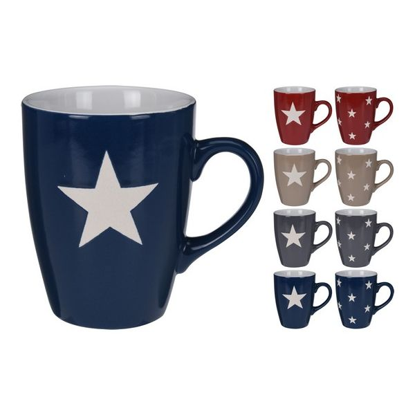 Кружка Звезда 300 мл в ассортиментеВместительная кружка с изображением строгих звездочек проста, практична и удобна. Прочные толстые стенки из фарфора, классический расширенный кверху дизайн и большая массивная ручка устойчивы к механическим воздействиям, поэтому прослужат продолжительное время. Из посуды можно пить не только любимые молоко, чай или кофе, но и есть горячий суп. Кружку допустимо очищать как вручную, так и в машине для мытья посуды.<br>