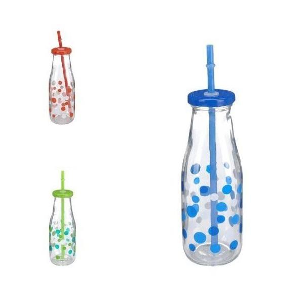 Бутылка с крышкой 450 мл 7*19 в ассортиментеНебольшая бутылочка для питья снабжена закручивающейся крышкой. В крышку плотно вставлена трубочка, через которую удобно пить соки, компоты, лимонад. Рисунок из ярких разноцветных горошин и необычный способ питья сделает аппетитным любой полезный, даже не любимый напиток, который ребенок выпьет с интересом и удовольствием. Стеклянную бутылку можно кипятить, стерилизовать и мыть в посудомоечной машине. Не содержит пластика, следовательно, является экологически чистым и безопасным товаром.<br>