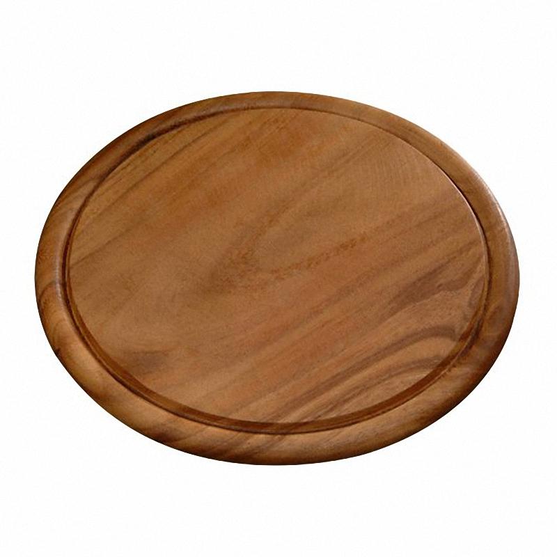 Доска круглая подстановочнаяКруглая разделочная доска с пазом диаметром 30 см, толщиной 1,5 см изготовлена из лиственных пород тёмного древа. Прекрасная устойчивая доска для разделки мяса, со специальным пазом предотвращающий растекания сока от продуктов.<br>