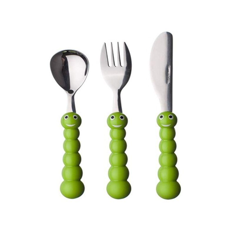 Набор детских столовых предметов Caterpillar, 3 пр, зеленый