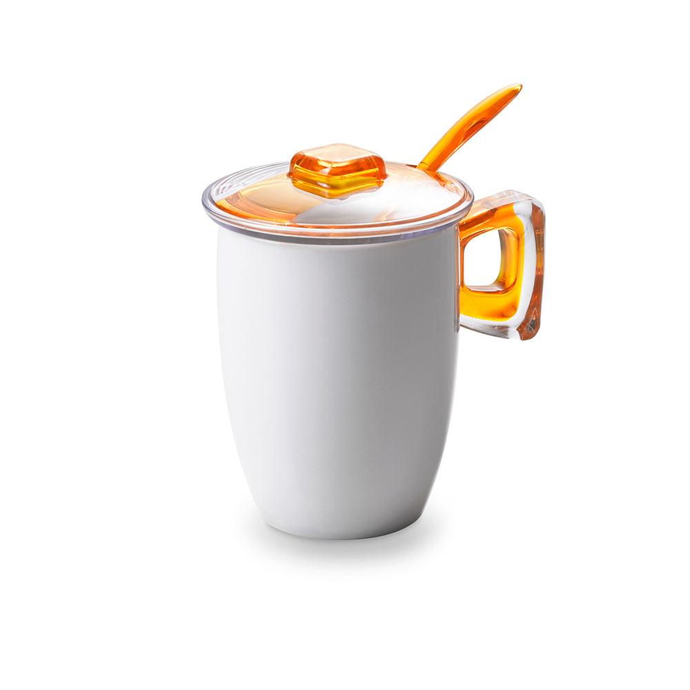 Кружка для заваривания чая с крышкой, ложкой и фильтром 0,35 л Square, желтая