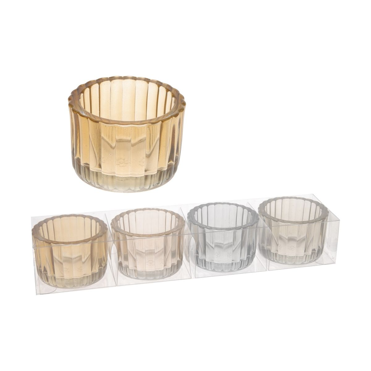 Набор подсвечников 4 шт граненые 5,5*5,5*3,7 смподсвечники в наборе 4 шт, граненные, 5.5x5.5x3.7см<br>