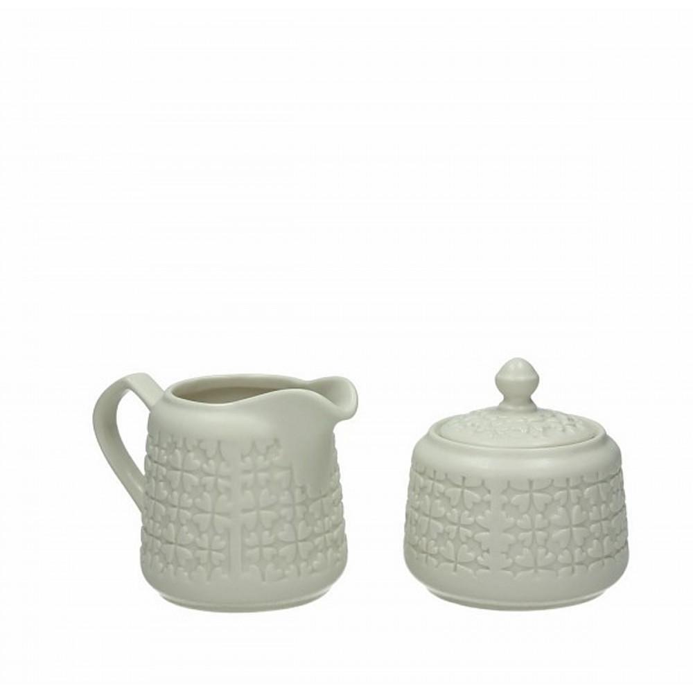 Набор из двух предметов сахарница и сливочник DOLCE CA MELROSEНабор сделан из высококачественной керамики и рассчитан на 2 персоны. В него входят сахарник и сливочник. Добавьте в свой интерьер лаконичности, дополнив его классичесикими предметами кухонной утвари.<br>