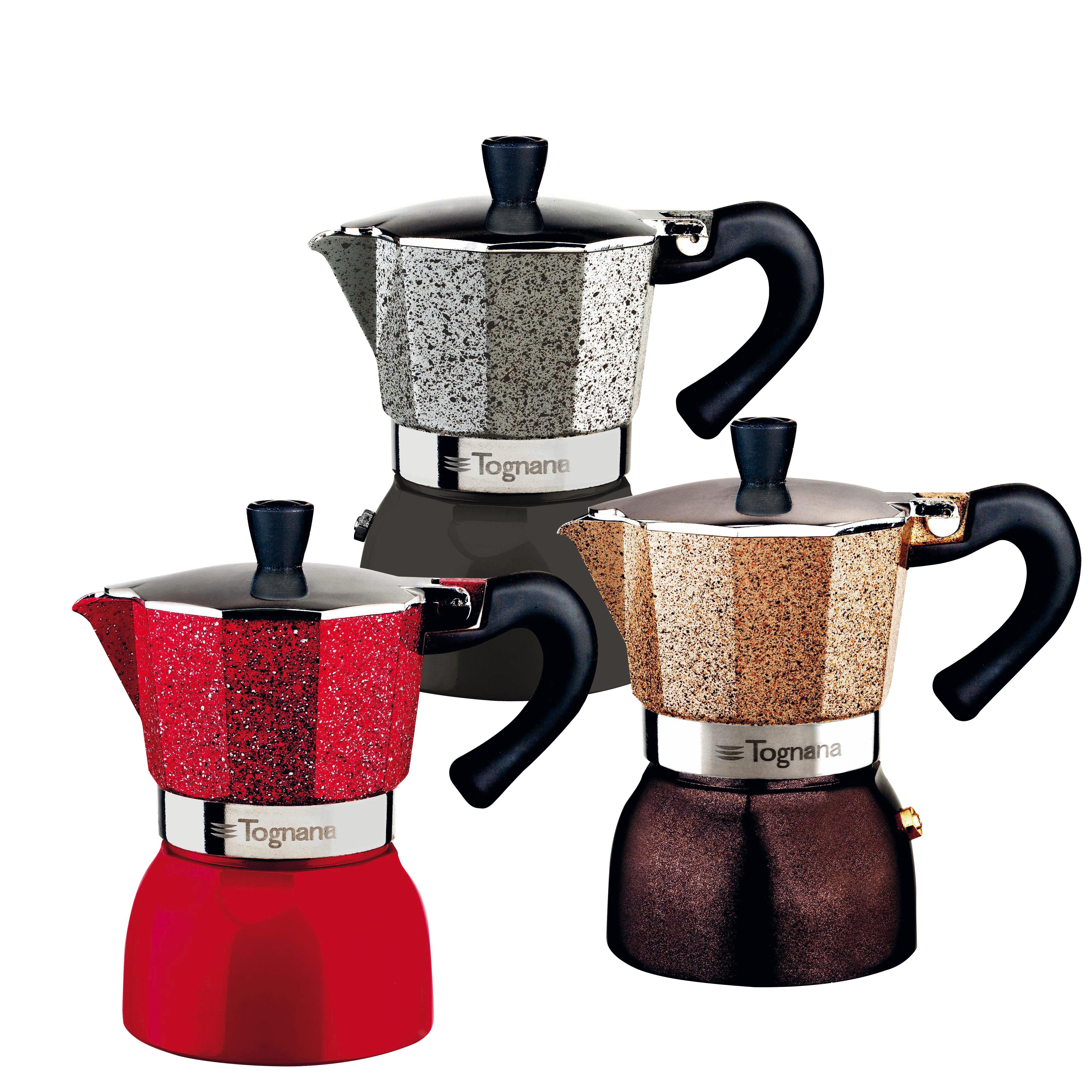 Кофеварка гейзерная на 3 чашки GRANCUCINA MULTICOL цвета в ассортиментеКофеварка гейзерная на 3 чашки Гранкучина станет незаменимым атрибутом для каждого ценителя качественно приготовленного кофе. Представленные модели изготавливаются из прочного алюминия и пластика. Эти материалы надежно защищают от случайных повреждений, что способствует долгому сроку службы изделий. Кофеварки работают по принципу гейзерного приготовления с помощью пара, благодаря чему напиток получается особенно вкусным и насыщенным. Разнообразные расцветки позволят вам подобрать изделие, оптимально подходящее к интерьеру кухни.<br>