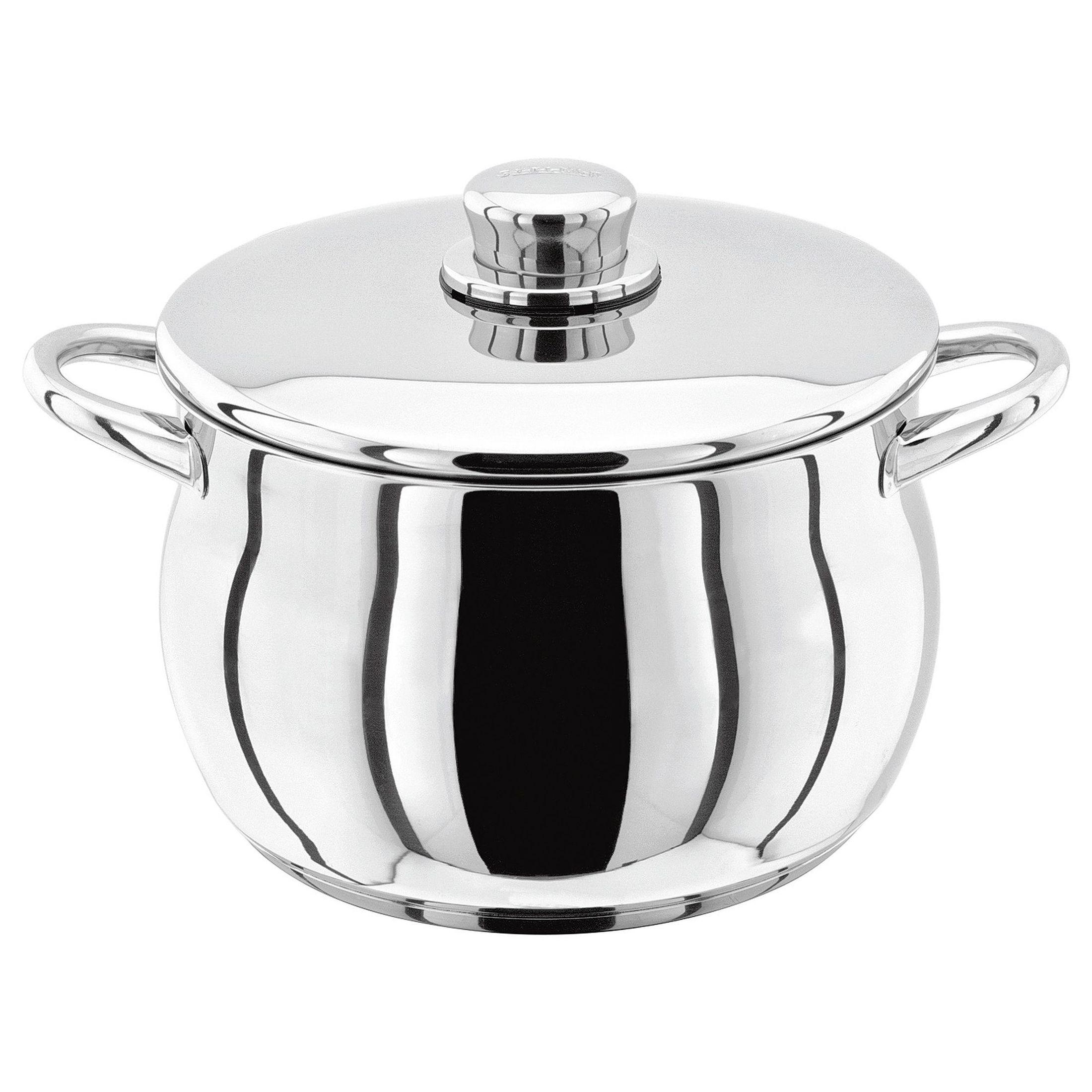 Stellar 1000 Кастрюля22 см, 4,4 лКлассическая английская форма посуды в сочетании с непревзойденным европейским качеством. Дно посуды изготовлено методом горячей ковки, что гарантирует равномерное распределение тепла на всех типах варочных панелей. Хромированная нержавеющая сталь.  Пригодны для использования в духовке (до 240 гр. С).<br>