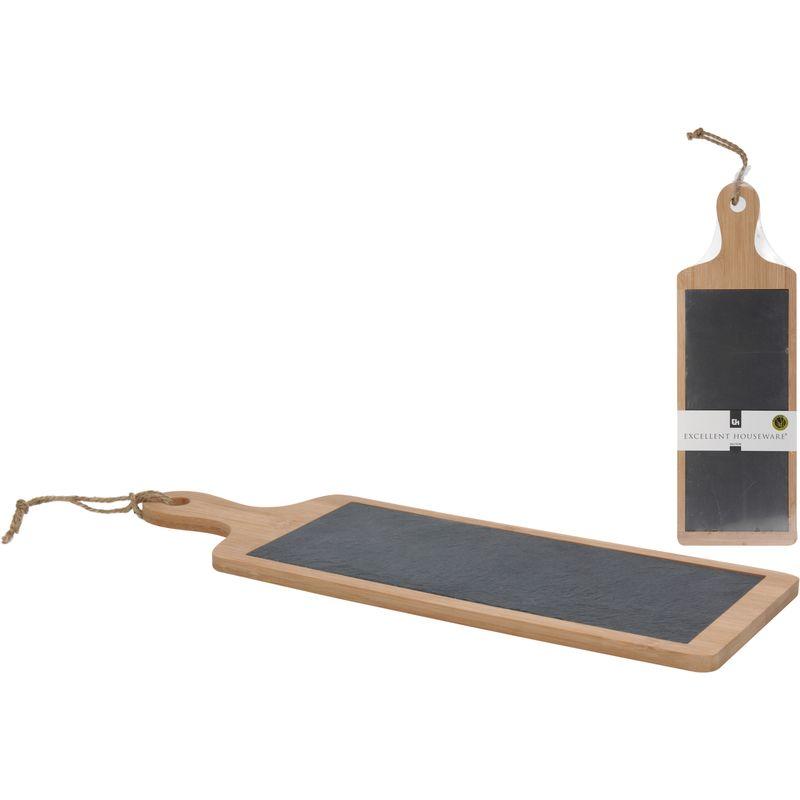 Разделочная доскаРазделочная доска из сланца с элементами бамбука.<br>