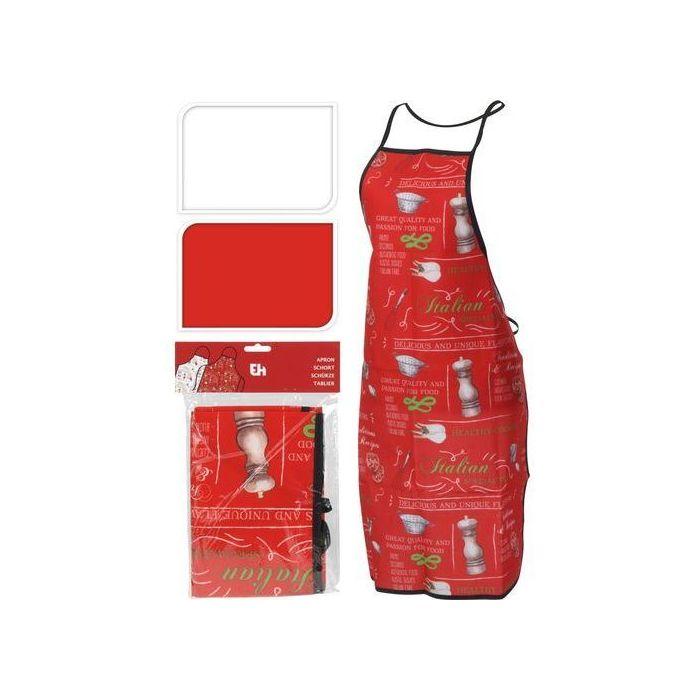 Фартук 60*84 см в ассортиментеФартук – это кухонный аксессуар, которым пользуются многие хозяйки. Он не только защищает основную одежду от попадания брызг и возникновения жирных пятен в процессе приготовления пиши и при выполнении кухонных работ, но и украшает свою владелицу. Изделие представлено в нескольких цветовых решениях и имеет принт на кухонную тематику. Завязки на поясе дополнены тесьмой через голову. Кухонный фартук пошит из прочного тканого материала, который податлив к утюжке стирке, а также обладает стойкостью к механическому воздействию.<br>