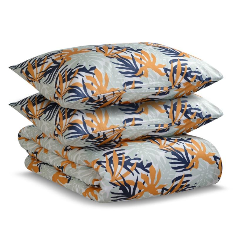 Комплект постельного белья полутораспальный из сатина с принтом Leaves