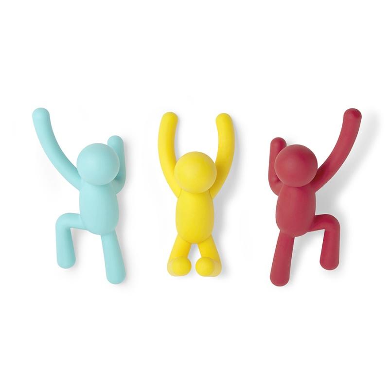 Вешалки-крючки Umbra Buddy 3 шт. разноцветные яркие