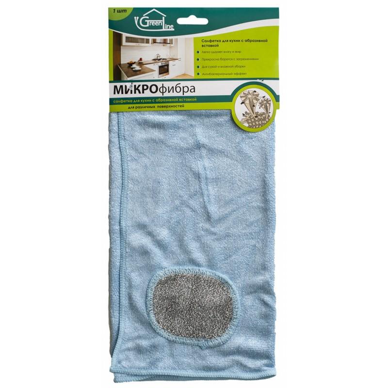 Салфетка  для кухни  (с абразивной вставкой)Салфетка для кухни из микрофибры подойдет для сухой и влажной уборки. Легко удалит влагу и жир, прекрасно борется с сильными загрязнениями, с антибактериальным эффектом. Тыльная сторона из микроволокна сможет удалить даже самые стойкие загрязнения благодаря уникальной абразивной вставке.  Не  рекомендуется чистка деликатных поверхностей абразивной вставкой.<br>