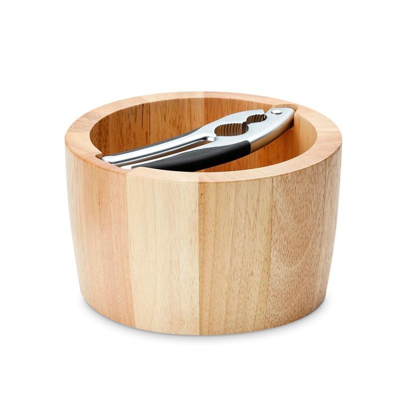 Миска для орехов с щипцами каучуковое дерево Continenta