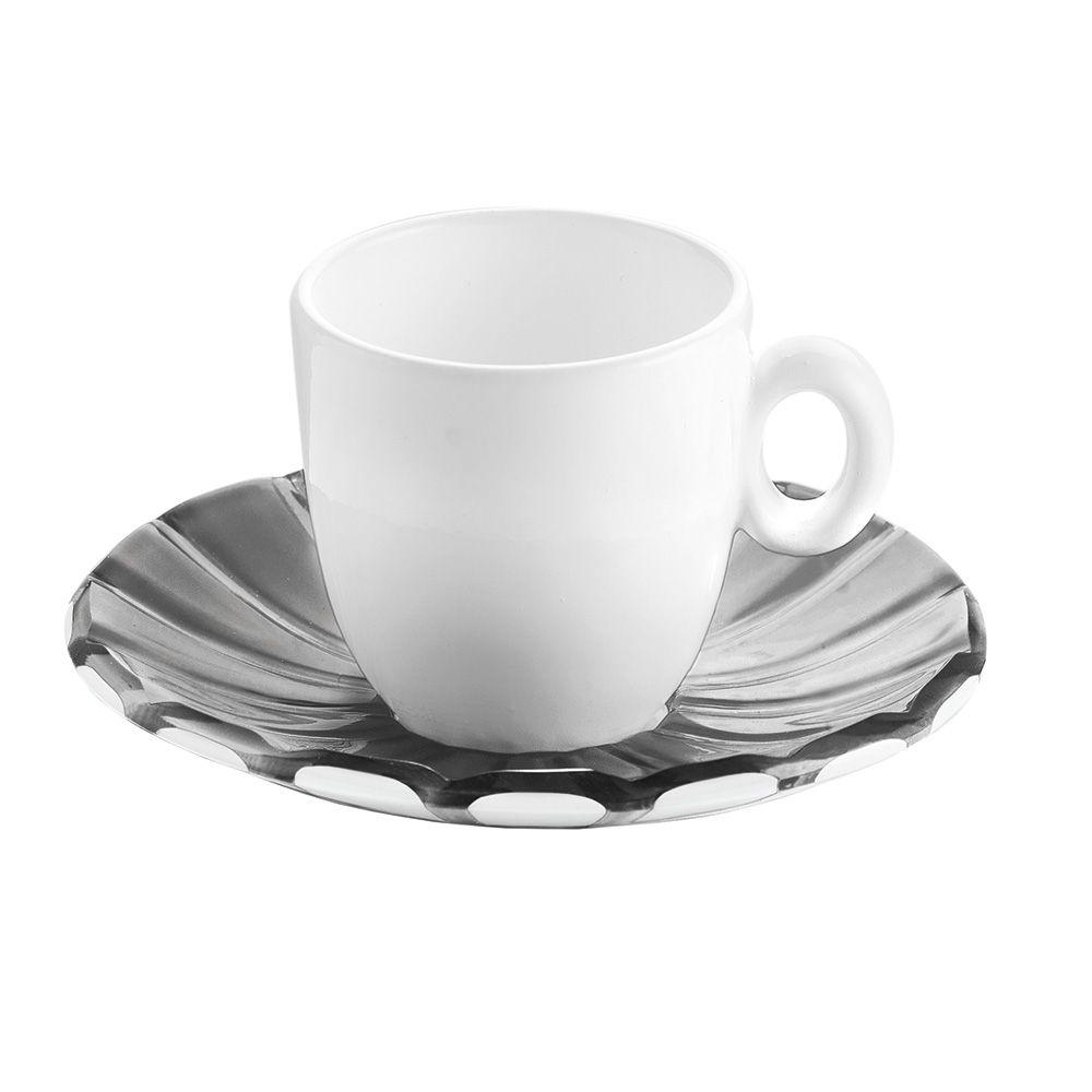 Набор  чашек с блюдцами для кофе GRACEFratelli Guzzini производит пластиковую посуду и аксессуары для дома. Элегантный комплект чашек и блюдцев прекрасен для использования на летней веранде или дома. Набор симпатично смотрится, удобен в использовании, долговечен, красив.<br>