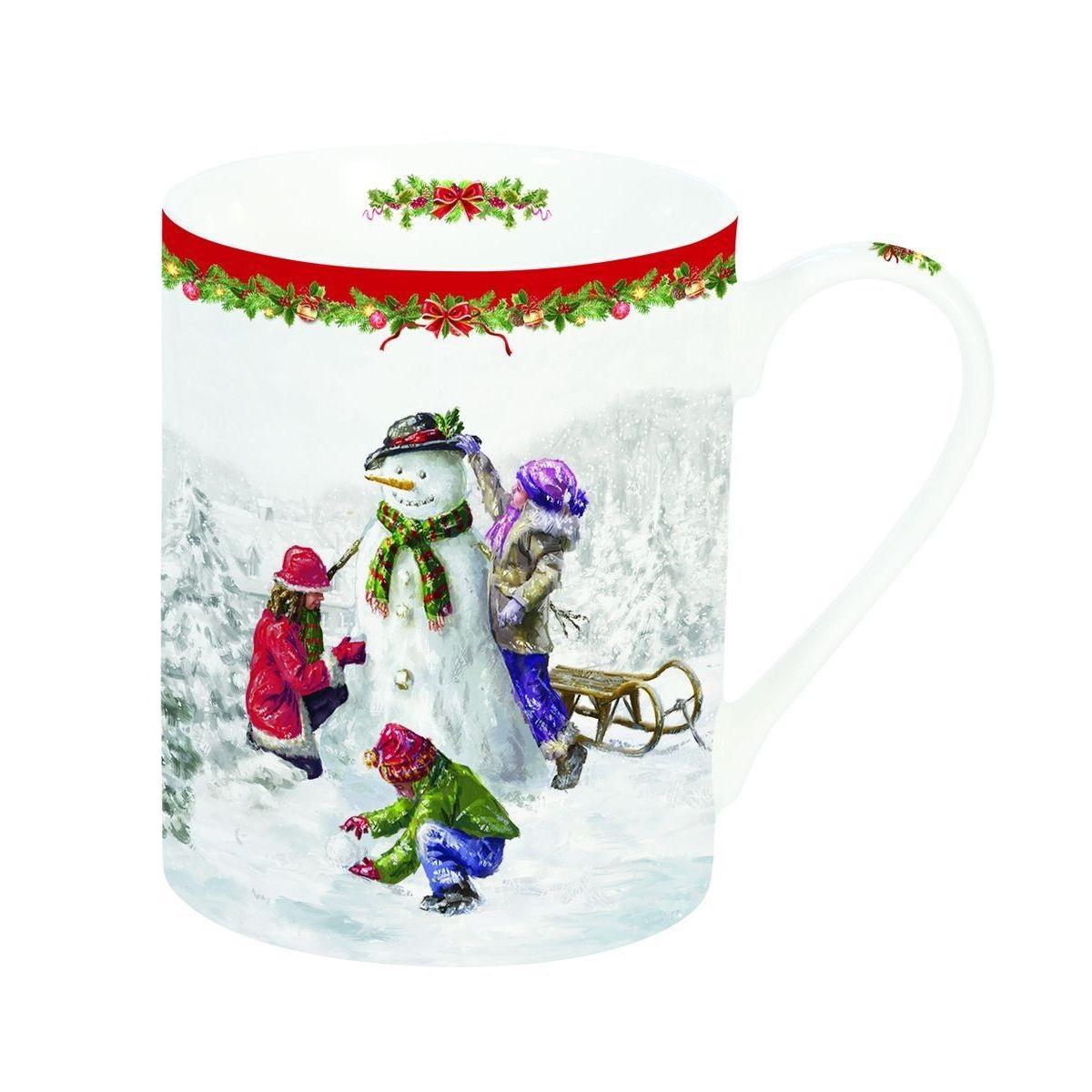 Кружка Забавный снеговик 300мл, фарфорКружка Забавный снеговик имеет классическую форму и лаконичный дизайн. Модель декорирована ярким и красочным принтом с изображением зимней рождественской сцены. Такой декор понравится и взрослым, и детям. Кружка станет прекрасным выбором для дома, ее можно преподнести в качестве подарка дорогим и близким людям, что будет особенно актуально к новогодним праздникам. Модель изготовлена из высококачественной и прочной керамики, которая не образует сколов и отличается долговечностью. Кружка Забавный снеговик подходит для мытья в посудомоечной машине вместе с прочей посудой.<br>