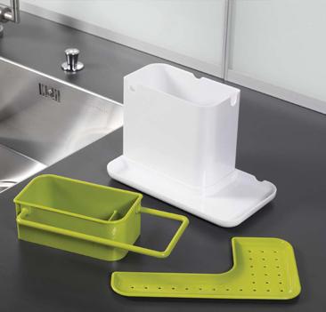 Органайзер для раковины Caddy белый/зеленыйГоршочек для раковины компактнен и удобен в использовании, он позволяет организовать хранение всяческих предметов для раковины в одном месте. Он легко разбирается и его легко мыть.<br>