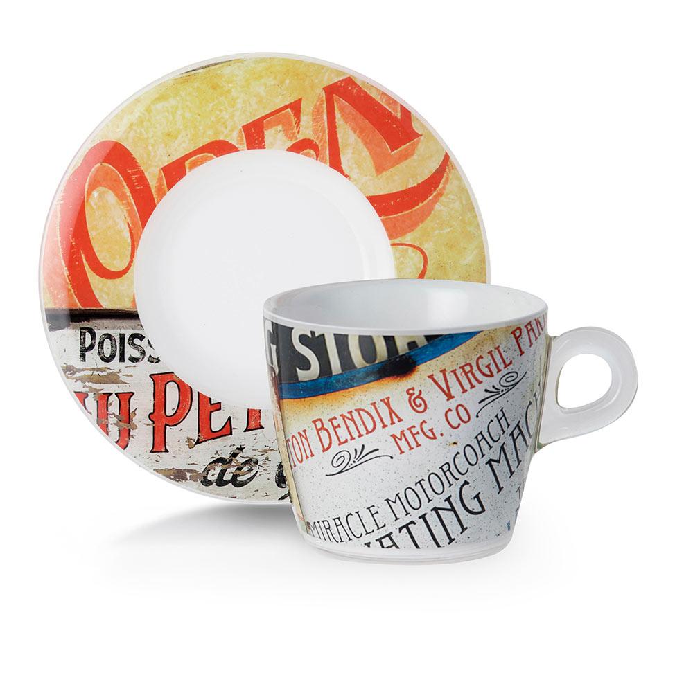 Набор чашек с блюдцами для завтрака 2 шт 0,23 л Plexart Vintage Signs