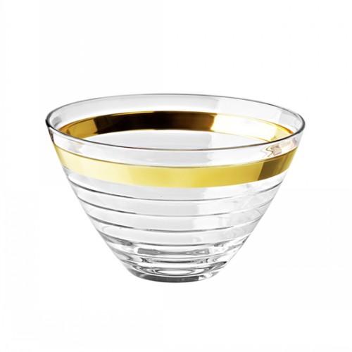 Салатник, золотая полоса BAGUETTEСалатник сделан из уплотненного стекла, поэтому он намного прочнее в использовании. Благодаря необычному оригинальному дизайну, салатник отлично дополнит любой ваш праздничный стол. Итальянские производители каждый свой продукт делают уникальным и утонченным, поэтому вам несомненно будет приятно угостить своих гостей вашим очередным кулинарным шедевром.<br>