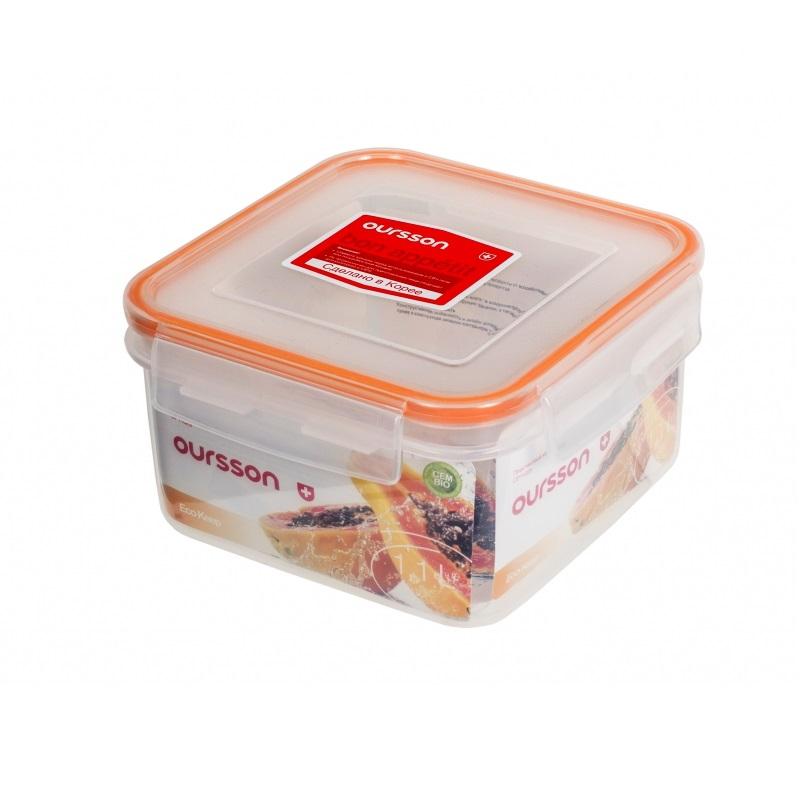 Контейнер пластиковый прозрачный 1,1 л оранжевый