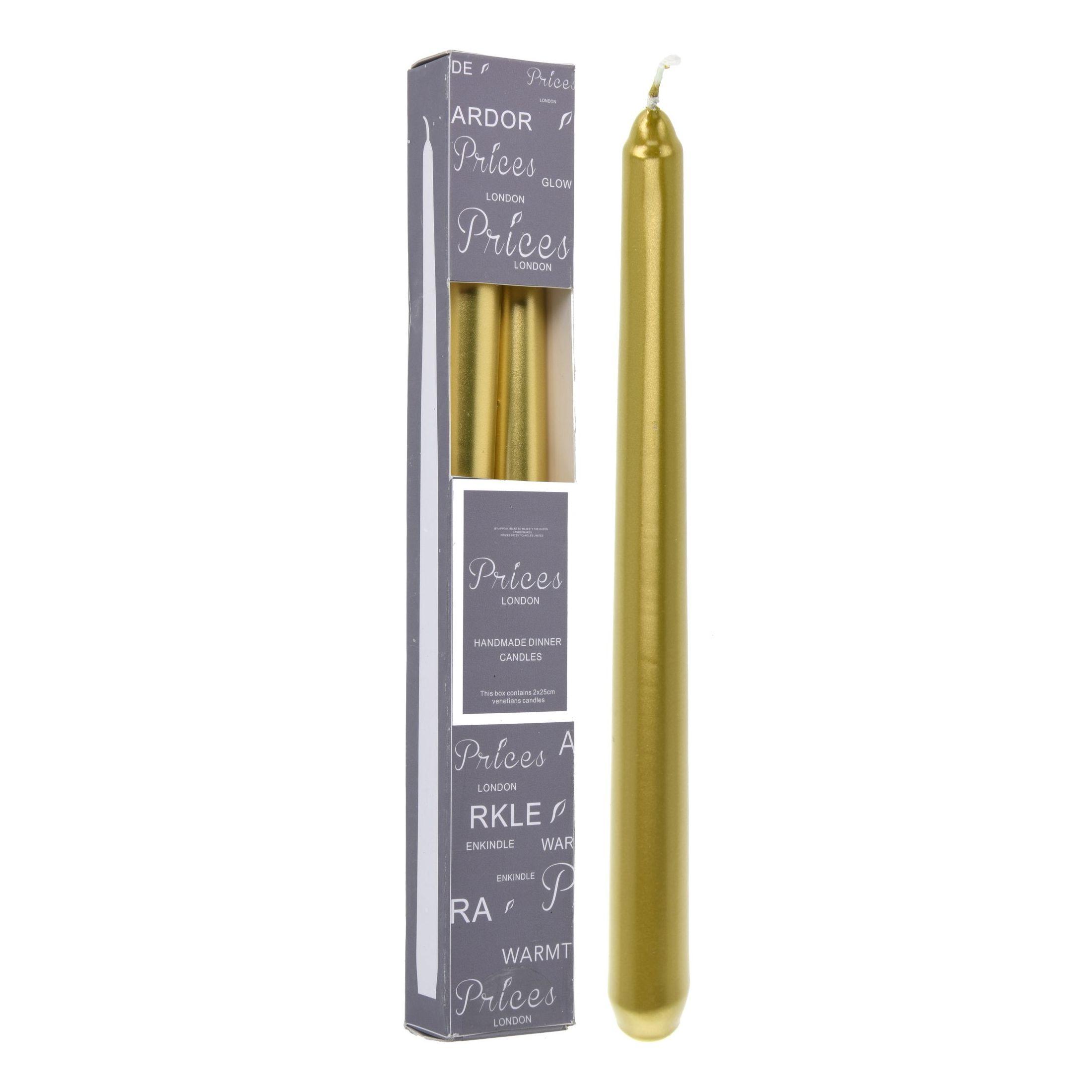 Набор свечей 2 шт 25 см золотой<br>