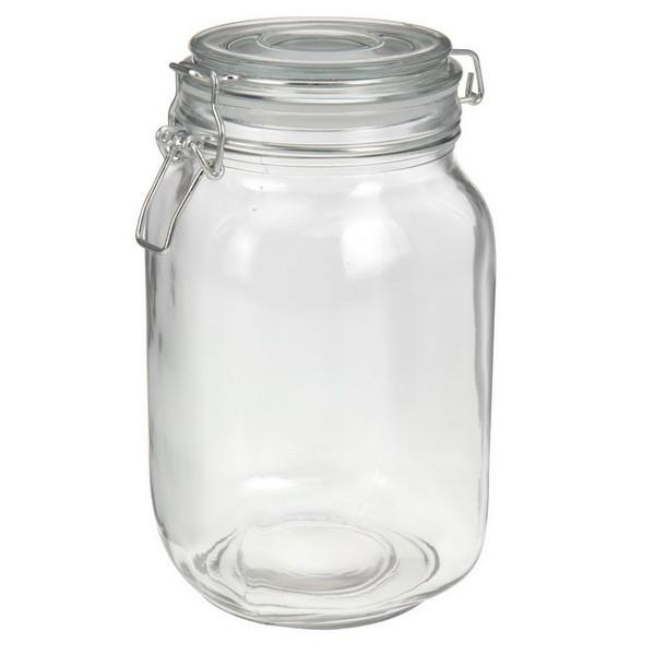 Банка д/хранения продуктовБанка для хранения изготовлена из стекла, снабжена герметичной крышкой с уплотнителем и клипсой-защелкой. Прекрасно подойдет для хранения круп, чая и кофе.<br>