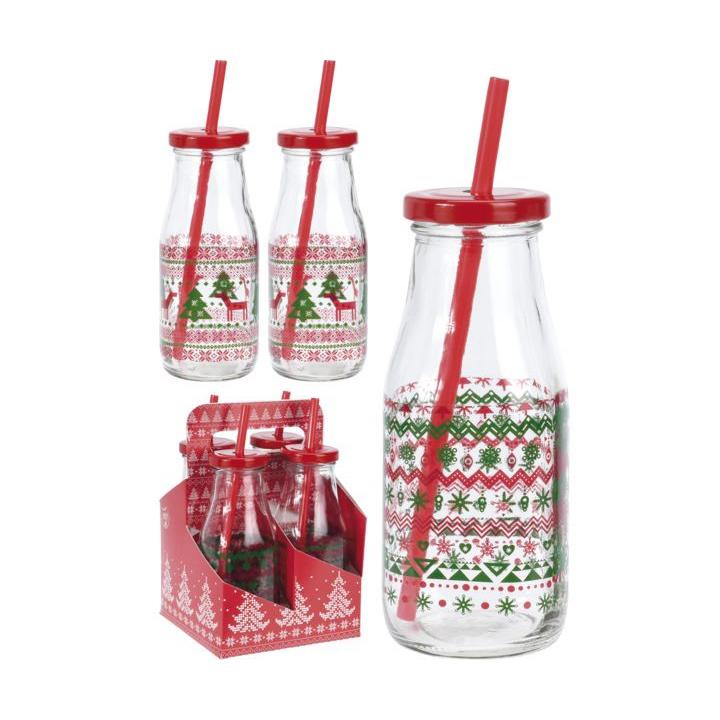 Набор стаканов в форме бутылки 4 шт 230мл с крышкой и соломкой