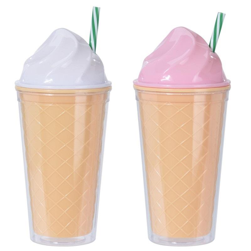 Стакан с соломкой 500 мл в форме рожка мороженого