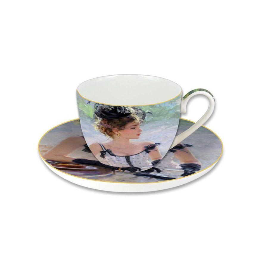 Чашка с блюдцем 0.28л  Утреннее чаепитие, в подарочной упаковке«Утреннее чаепитие» - набор из чашки и блюдца, который украшен изображением известной картины. Рисунок повторяется на обоих предметах набора. Такая чайная пара украсит собой стол и превратит обычное чаепитие в гармоничный высокохудожественный процесс. Чашка с блюдцем выполнены из костяного фарфора. Подарочная коробочка сделает набор «Утреннее чаепитие» уместным подарком коллеге  или милым знаком внимания родственнику, близкому человеку.<br>