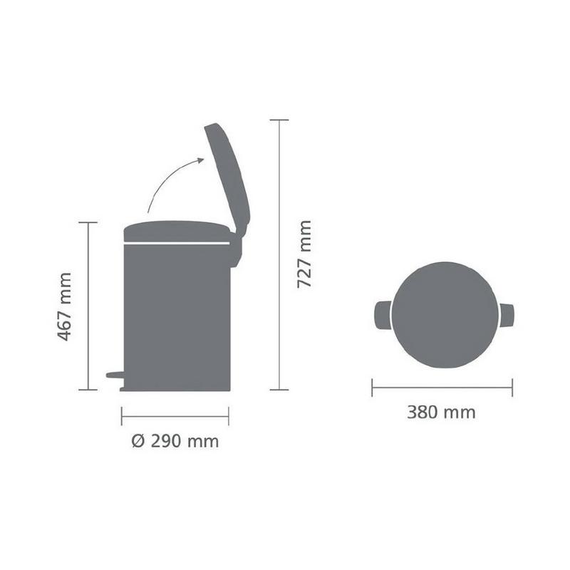 Купить Бак мусорный с педалью newIcon 20 л матовый с защитой от отпечатков пальцев, Brabantia