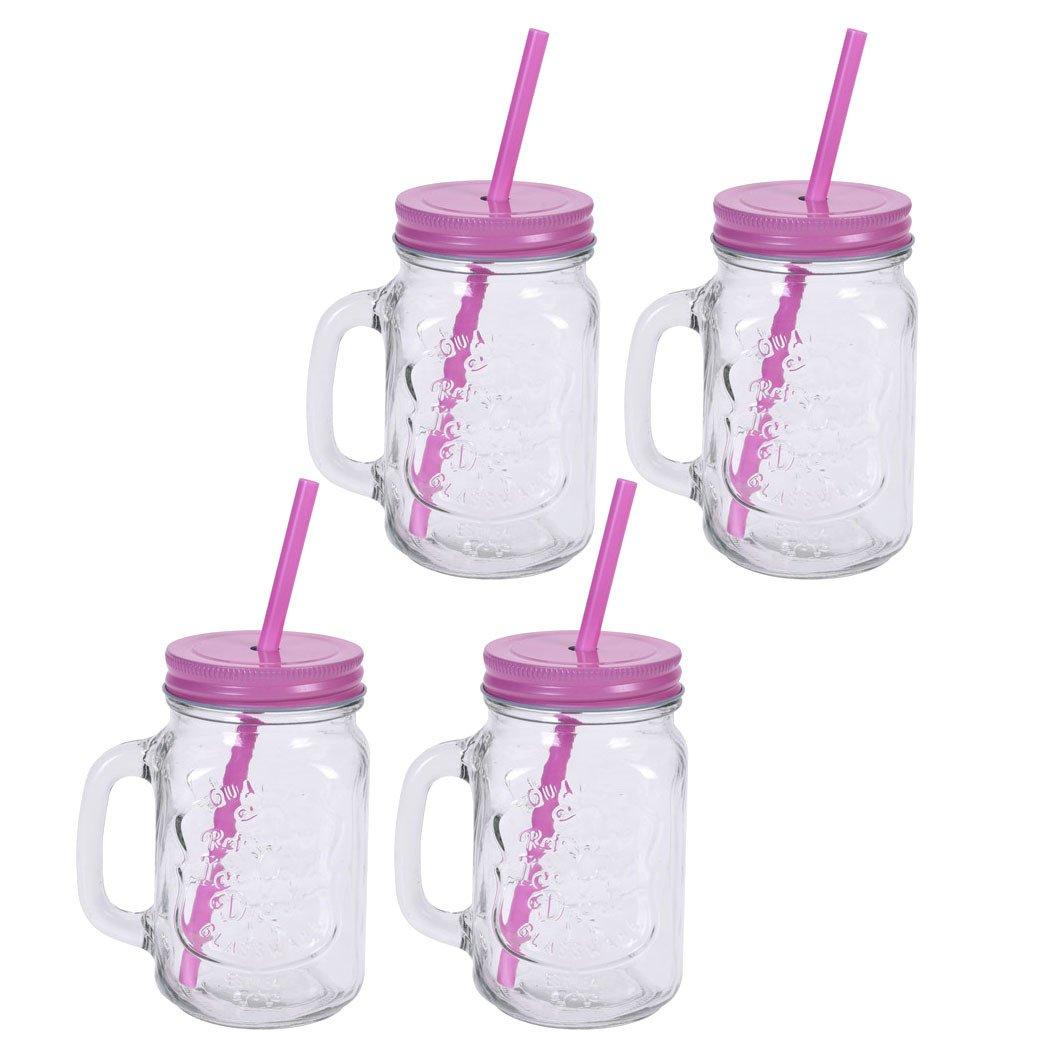 Набор из 4 стаканов в форме банки с соломкой на подставке, в ассортименте