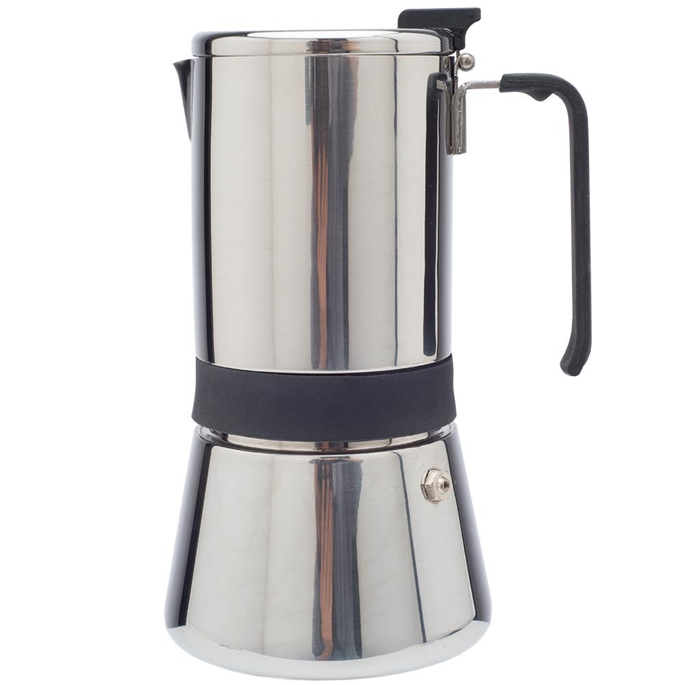 Кофеварка гейзерная на 6 чашек AROMAКорпус гейзерной кофеварки Aroma выполнен из литого алюминия. С ее помощью вы сможете приготовить 10 чашек ароматного свежесваренного кофе на любой плите (кроме индукционной). Ручка изготовлена из высококачественного ABS пластика.<br>