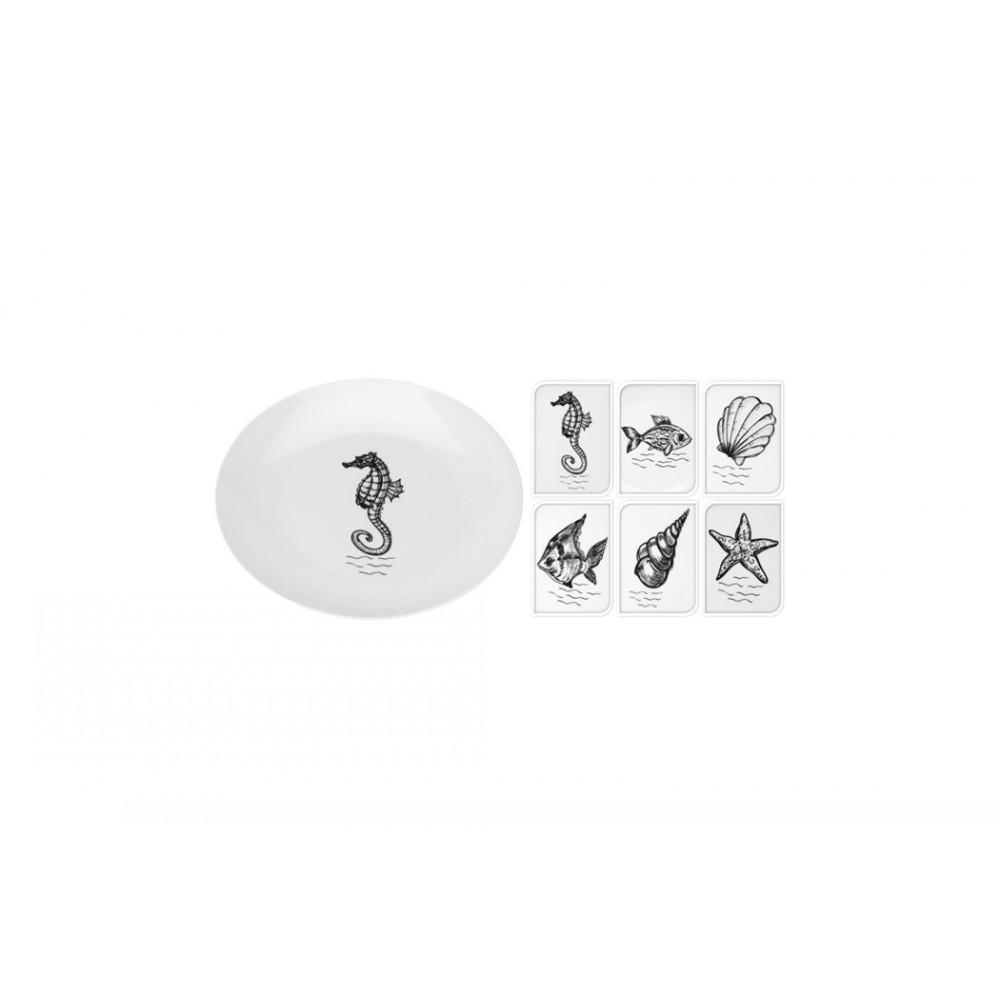 Тарелка Морские обитателиТарелка Морские обитатели изготовлена из качественного фарфора белого цвета и украшена оригинальным рисунком. Акая тарелка украсит сервировку Вашего обеденного стола. Предназначена для подачи вторых блюд, а также подачи нарезки.<br>