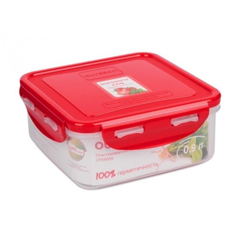 Контейнер пластиковый, герметичный 0,9 лКонтейнер пластиковый с герметичной закрывающейся крышкой на надежных клипсах предназначен для хранения и переноски продуктов. Он станет оптимальным вариантом для того, чтобы брать на работу обед, перевезти готовые закуски или нарезки овощей и колбасы для пикника. Благодаря надежному уплотнителю крышки и замкам по периметру, контейнер исключает протекание и случайное открывание. Модель выполнена из высокотехнологичного пластика, который не только легко моется, но и не впитывает запахи. Контейнер пластиковый сохраняет продукты свежими в течение длительного времени.<br>