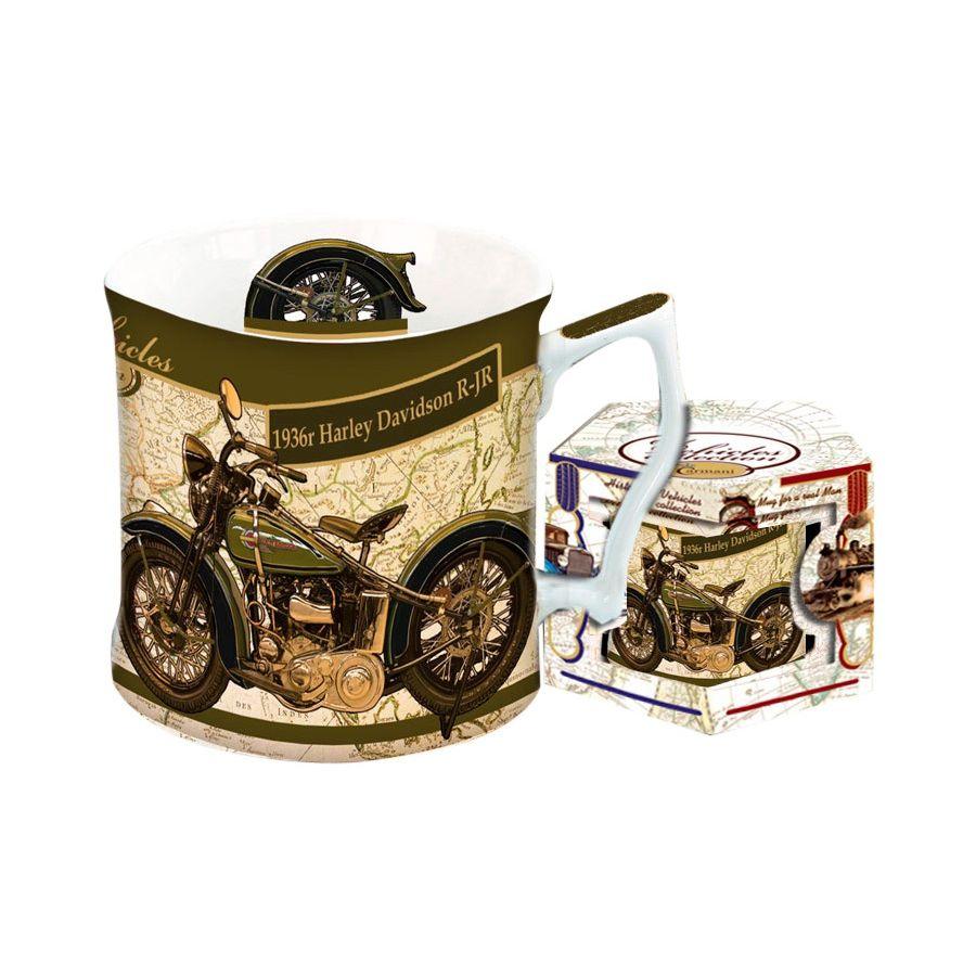 Кружка 0,45 л. Харлей Дэвидсон 1936 гМужчины - почитатели мотоциклов и довоенной техники, а также неравнодушные к высшему качеству посуды по достоинству оценят кружку «Харлей Дэвидсон 1936 г.». Изображение мотоцикла детализировано до мелочей и выполнено в винтажных тонах сепия, что создает ощущение ценной антикварной вещи. Кружка снабжена удобной ручкой и упакована в шестигранную подарочную коробку, на которой повторен рисунок «Харлея». Изготовлена из костяного фарфора качества премиум с особо стойким рисунком, может использоваться в микроволновой печи и посудомоечной машине.<br>