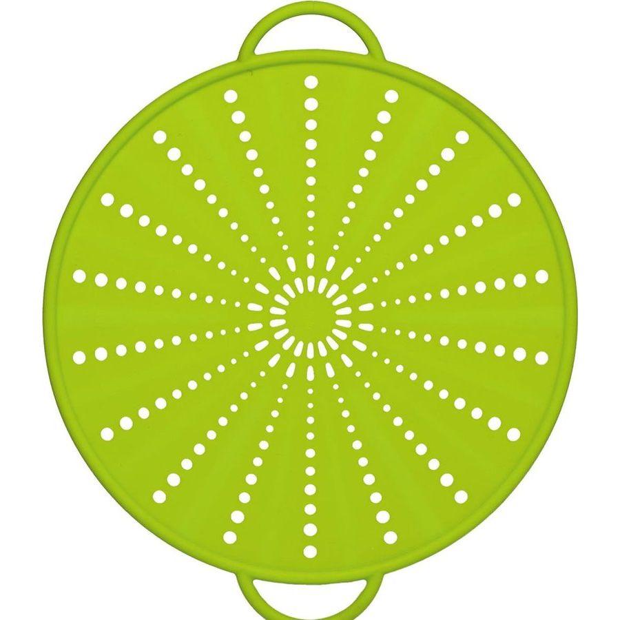 Экран защитный от брызг 31см зеленыйНемецкий бренд EMSA дарит жителям мегаполисов прекрасные аксессуары для дома и загородных домов, которые всегда радуют покупателей своим ярким и стильным дизайном и функциональностью. Удобный силиконовый аксессуар данного бренда отличается своей многофункциональностью. Экран от брызг может быть еще и подставкой под горячее, крышкой для слива и крышкой для микроволновой печи. Удобные металлические ручки также обтянуты силиконом для большего удобства. Яркий и стильный, а также очень эргономичный помощник для Вашей кухни, за которым не требуется особого ухода.<br>